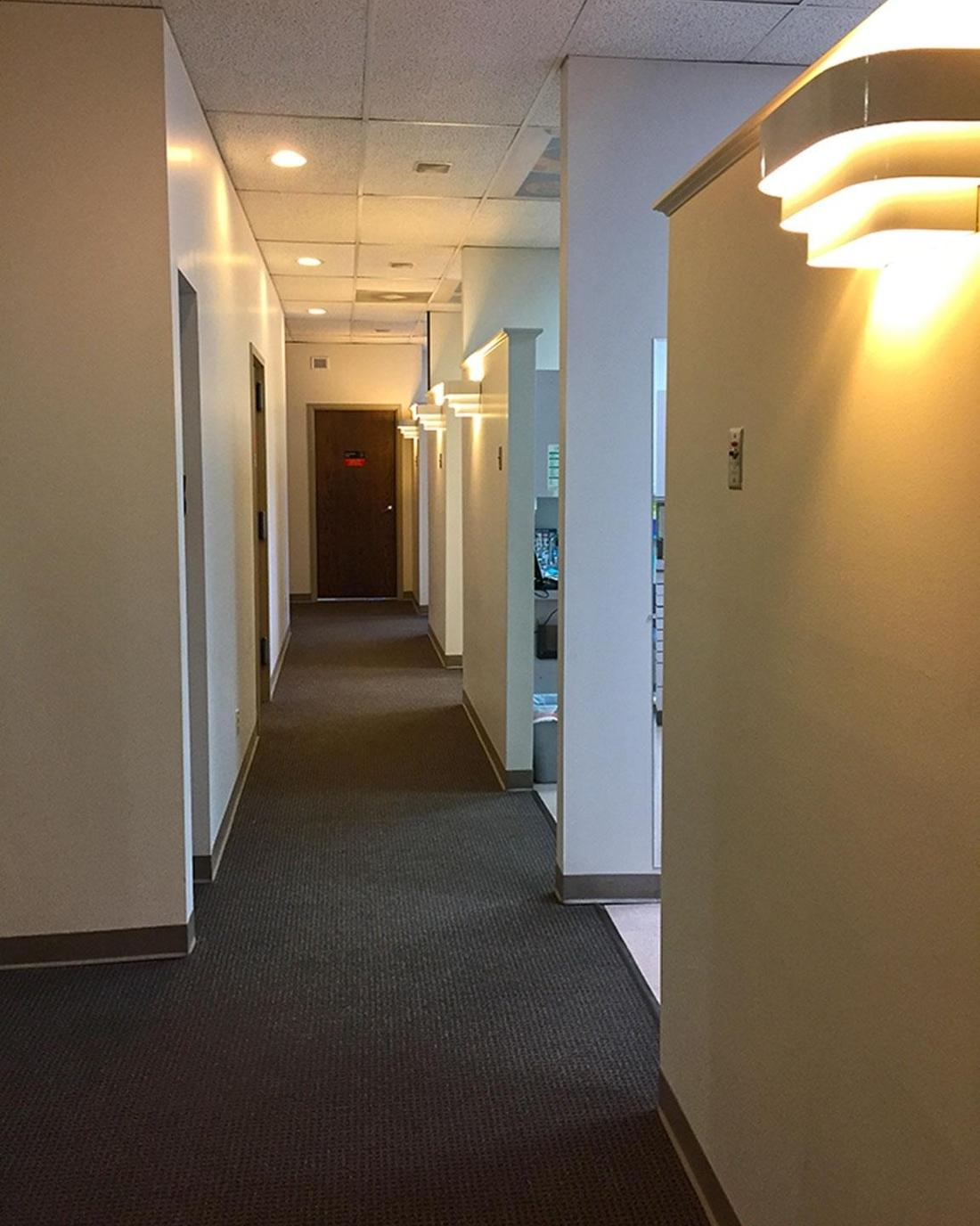 Hallway of dental treatment rooms at Webster Groves Dental in 63119